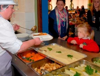 school kitchen counter