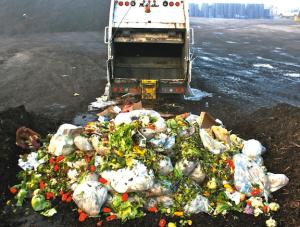 truck dumping food